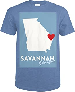 Savannah, Georgia - State Outline and Heart 69739 (Heather Royal T-Shirt XX-Large)