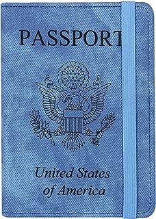 RFID Passport Holder Cover-Travel Wallet Card Case for Women&Man With Bonus Pen