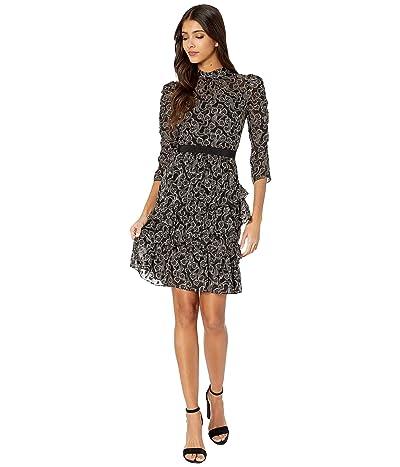 Rebecca Taylor Long Sleeve Celia Lace Dress (Black Combo) Women