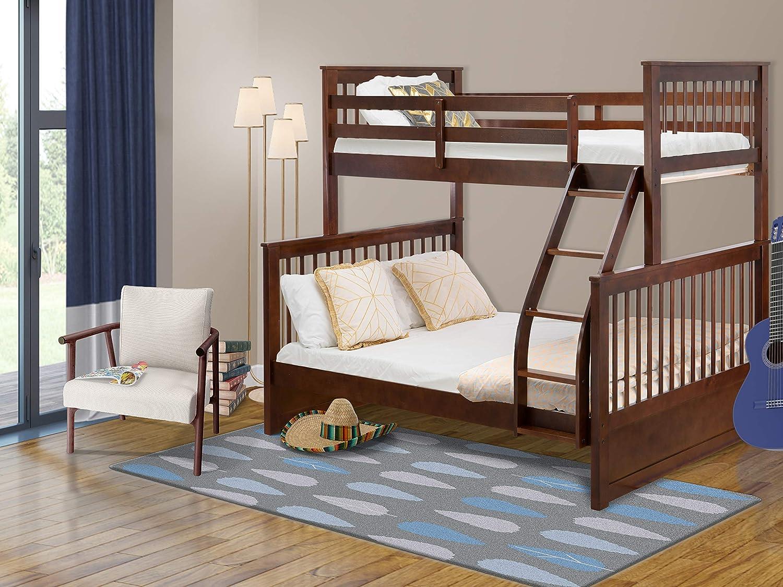 Amazon Com East West Furniture Odb 03 W Kids Bunk Bed Bedroom Sets Twin Full Phillip Walnut Home Kitchen