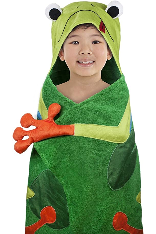 "Hooded Towel for Kids, Oversize Cotton Character Hood Towel – Makes Getting Dry Fun - Ideal Beach Towels for Toddlers & Small Children - Use at The Pool or Bath Time, 26 x 45"", Frog"