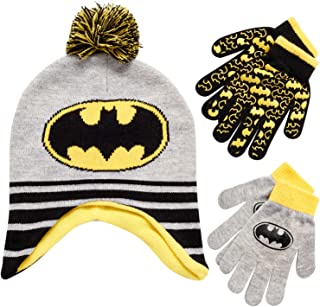 مجموعة من قطعتين من قبعة باتمان شتوية للأولاد من دي سي كومكس (لعمر 2-4) (رمادي داكن) / أصفر، العمر 4-7)