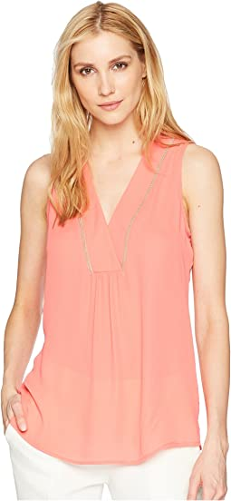 Georgette Sleeveless V-Neck with Trimming Detail