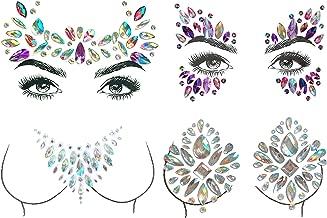 Bling 4 Sets Mermaid Face Jewels, Rave Festival Body Face Gems Stickers Bindi Crystal Rhinestone Face Tattoos Glitter DIY Body Art Makeup Jewels