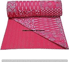 SHUBHARAMBH ENTERPRISES Beautiful Pink Indigo Patchwork Cotton Bohemian Quilt Boho Bedding Decorative Twin/Single Stitched...