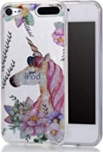 iPod Touch 6,iPod Touch 5,DAMONDY Cute Animal Flowers Glitter Bling Ultra Thin Slim Back Skin Clear Design Full Body Protective TPU Bumper Cover Case Phone Cover for iPod Touch 5 6th-Unicorn