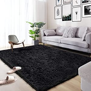 Area Rug, Qumig Ultra Soft Fluffy Area Rugs for Bedroom Luxury Shag Rug Faux Fur Non-Slip Floor Carpet for Livingroom, Kids Room, Baby Room, Girl Room and Nursery Modern Home Decor, 5.37.5 Feet Black
