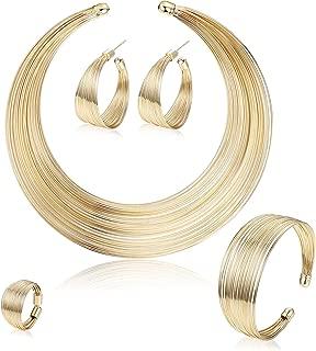 Bib Choker Statement Necklaces for Women Cuff Bracelet Open Hoop Stud Earrings Ring African Chunky Costume Jewelry Set