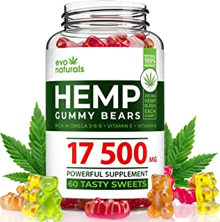 Evo Naturals Hemp Gummies – 17500 MG Blend – 292 MG per Serving – Relaxing Oil Gummies – Stress & Anxiety Relief – Effective Mood Support – with Omega 3,6,9 & Vitamin E, B – Made in USA