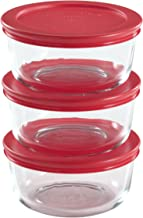 Pyrex 2-Cup Glass Food Storage Set with Lids Fine 6-Piece Clear
