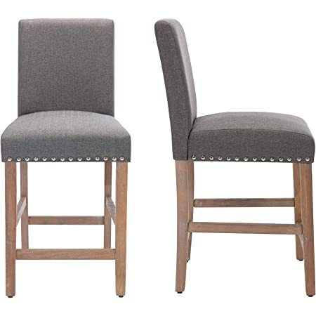 24 Inch Counter Stools for Dining Room with Solid Wood Legs Bar Chairs,Gray,Set of 2