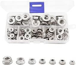 binifiMux 70Pcs Hexagon Flange Nuts Assortment Kit(7 Sizes), 304 Stainless Steel #6#8#10, 3/16
