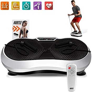 Hurtle Fitness Vibration Platform Workout Machine   Exercise Equipment For Home   Vibration Plate   Balance Your Weight Workout Equipment Includes, Remote Control & Balance Straps Included (HURVBTR30)