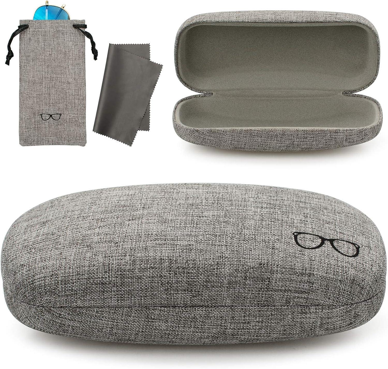 Vemiss Hard Shell Eyeglasses Case Sunglasses Import Large Fabrics National products Linen