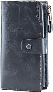 Itslife Women's RFID Blocking Large Capacity Luxury Wax Genuine Leather Clutch..