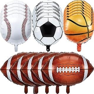 20 Pieces Sports Foil Balloon Set, Baseball Balloons Football Balloons Basketball Balloons Soccer Balloons Metallic Mylar ...