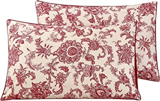 WINLIFE 100% Cotton Pillowcases 1000 Thread Count Floral Printed Pillow Cases Set of 2 Pillow Cover (Standard Size, Vintage Red)