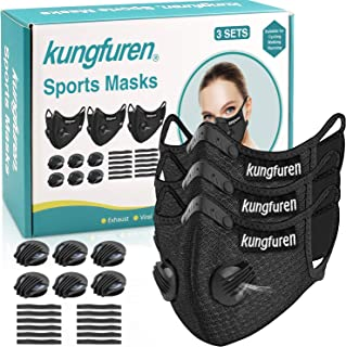 kungfuren 3 Sets Sports Cycling Masks with Activated Carbon Filter, Cycling Mask with 6 Breathing Valve and 12 Soft Foam Padding for Walking Running Cycling