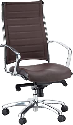 Eurotech Seating Europa Leather High Back Chair, Brown