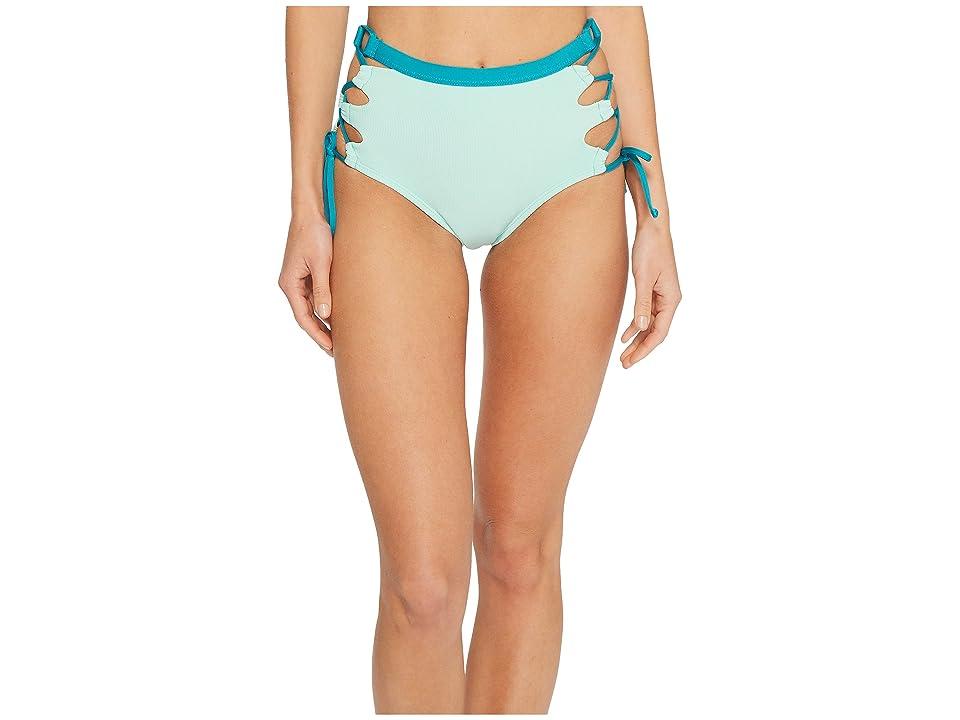 Splendid Color Block High-Waist Bikini Bottom (Aqua) Women