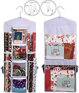 Wrapping Paper Storage Holder Double-Sided Hanging Gift Bag and Gift Wrap Organizer (Original White)