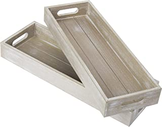 MyGift 17-Inch Rustic Wood Decorative Serving Trays with Cutout Handles, Set of 2