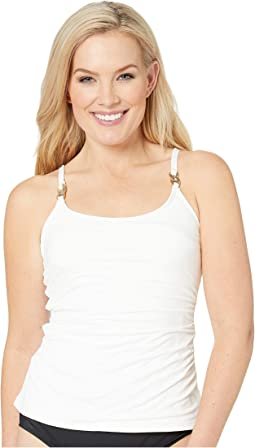 Radiant Chain Solids Scoop Neck Tankini Top