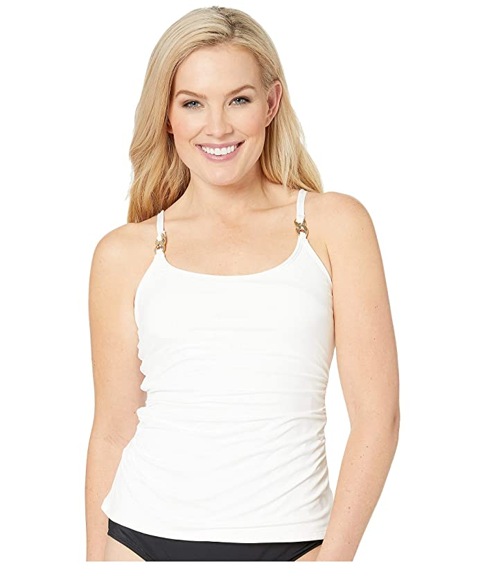 MICHAEL Michael Kors Radiant Chain Solids Scoop Neck Tankini Top (White) Women