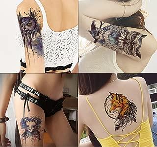 Dalin 4 Sheets Temporary Tattoos, Blue Owl, Cat, Fox