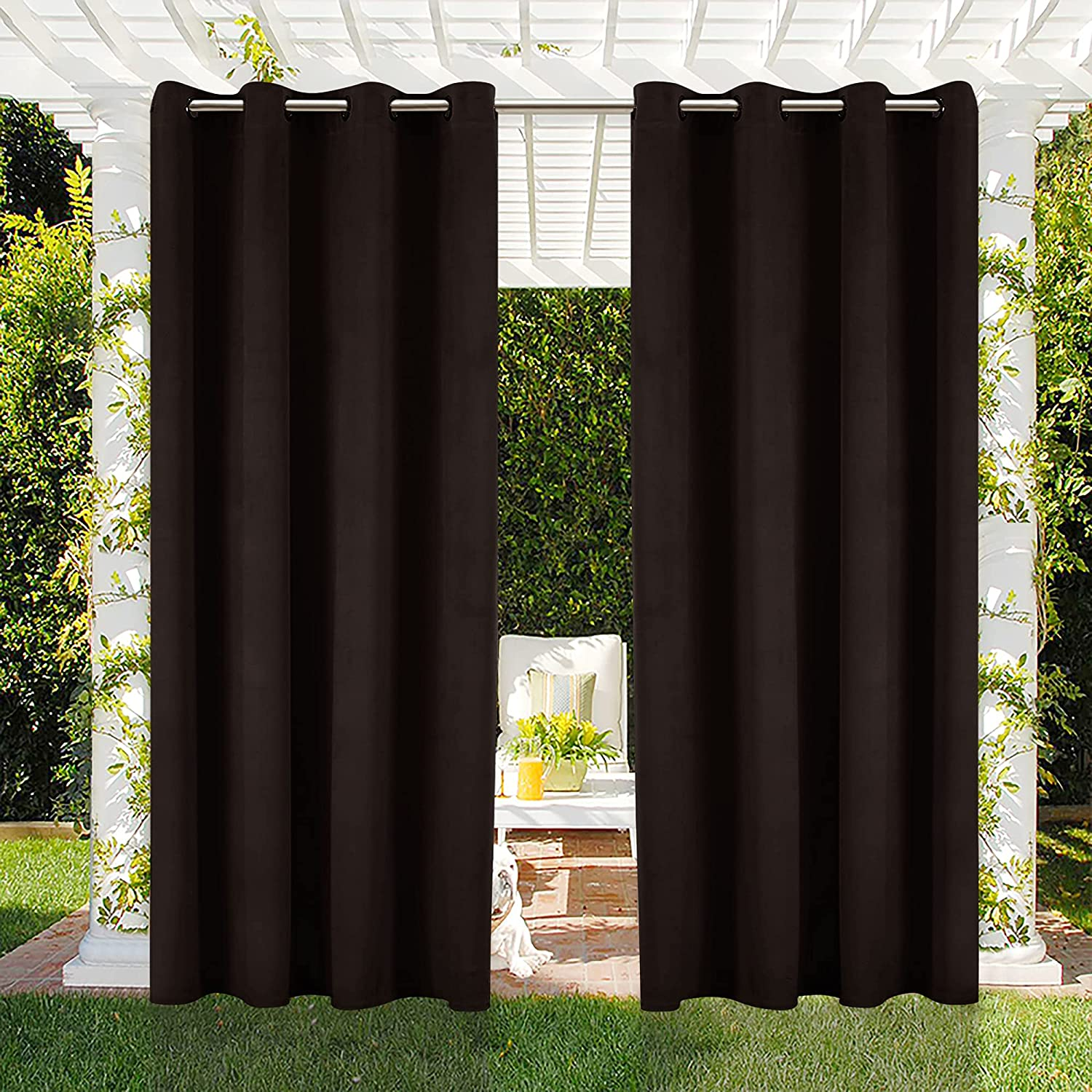 Manufacturer regenerated Boston Mall product CHHKON Outdoor Curtains for Waterproof Velvet Patio Ind