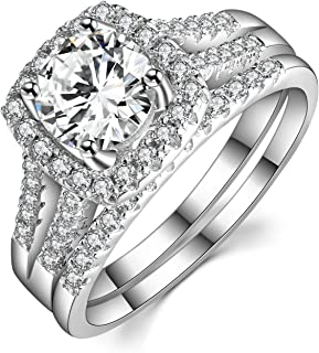 Caperci 2 Carat Round Halo Cubic Zirconia 925 Solid Sterling Silver Wedding Band Engagement Ring Sets