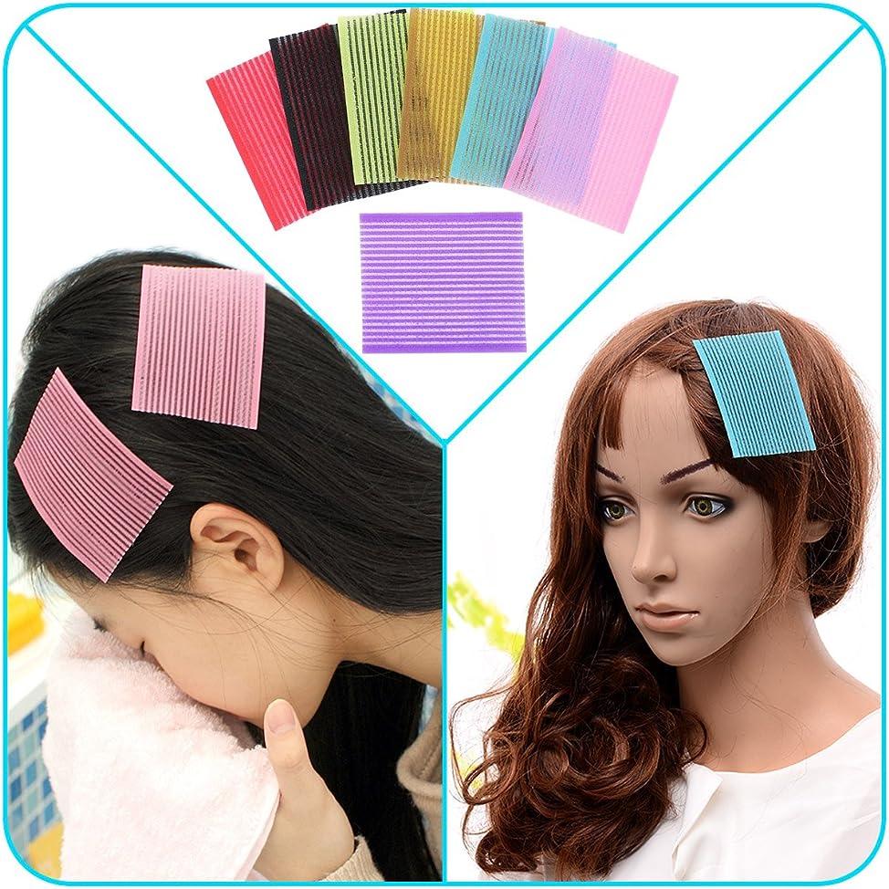 QY 7PCS Colorful Magic Bangs Hair Pad Square Hair  Pad Hair Fringe Care Tool Makeup Accessories