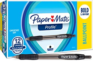 Paper Mate Profile Retractable Ballpoint Pens, Bold (1.4mm), Black, 12 Count