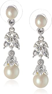 "Carolee ""Pearl and Crystal Basics"" Simulated Pearl Floral Drop Earrings"