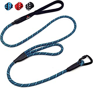 Enthusiast Gear 2 Handle Carabiner Rope Dog Leash with Lock for Large and Medium Breeds | Sturdy and Durable with Reflecti...