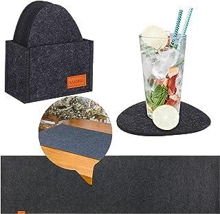 KAJIABELL Bordslöpare underlägg tvättbara av filt set om 11 – bordslöpare bordsband 150 x 40 cm + 10 filtunderlägg för gla...