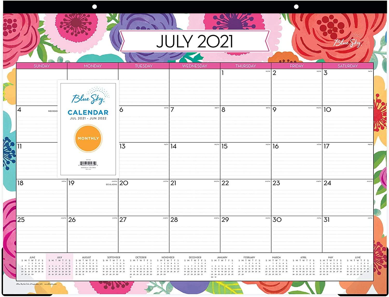 Blue Sky 2021-2022 Academic Year Monthly Desk Pad Calendar, 22