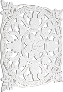 American Art Decor Hand-Carved Square Floral Wood Wall Medallion – Wall Decor –..