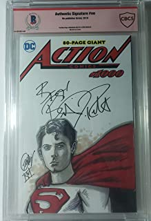 Brandon Routh autographed Action Comics Comic Book # 1000 Blank Cover with Sketch Remarks from Artist Kirk Manley Superman Beckett CBCS