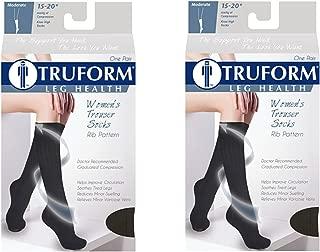 Truform Women's Fit Compression Socks, Rib Knit Pattern, 15-20 mmHg, Black, Medium (Pack of 2)