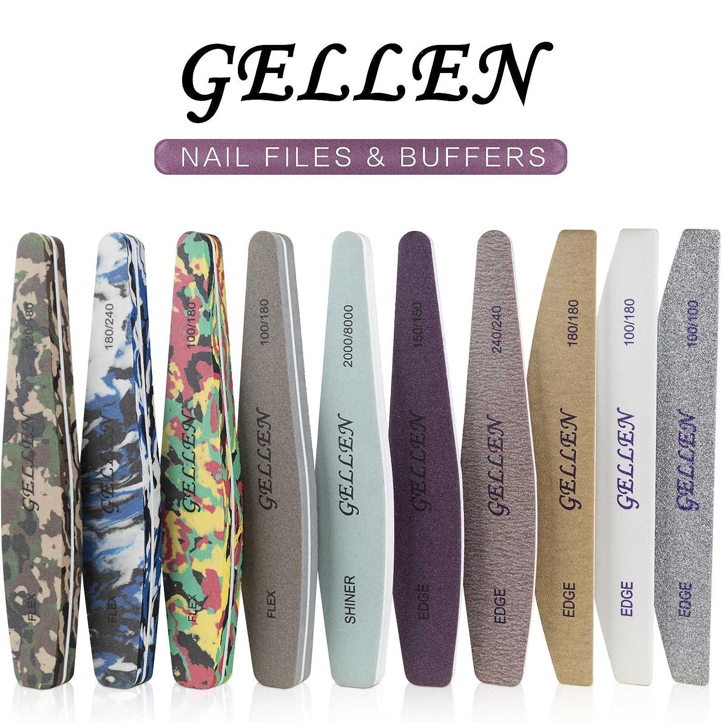 自我休日松の木Gellen 爪やすり 爪磨き ネイルケアセット ネイルファイル ネイルバッファー エメリーボード8種類計10本セット