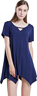 Womens Swing Tops Short Sleeve Dress Loose Fit Plus Size Scoop Neck Casual T Shirt