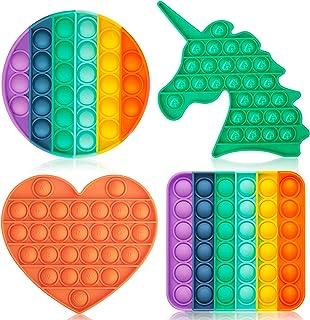 DALOJOE Push Pop Pop Bubble Fidget Sensory Toy، Pop Fidget Toys، 4 Pack Silicone Squeeze Toys Toys، اسباب بازی تسکین دهنده استرس ، اوتیسم اضطراب تسکین دهنده اضطراب ، اسباب بازی آموزشی ، برای کودکان ، بزرگسالان ، هدایا