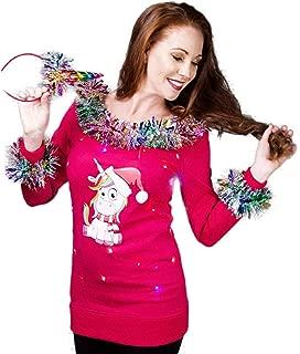 Women's Unicorn Christmas Sweater Light Up - Tacky Sweater with Lights & Garland