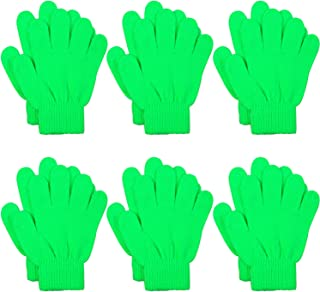 Cooraby 6 Pairs Kids Knitted Magic Gloves Teens Warm Winter Stretchy Full Fingers Gloves (Lime Green, 6-12 Years)