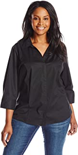 Women's Plus Size Easy Care ¾ Sleeve Woven Shirt