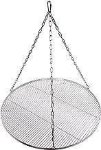 Grillrost Durchmesser 80 cm mit Kette Edelstahl 4 mm Grillstabdicke Stababstand 10 mm für Schwenkgrill BBQ Dreibein