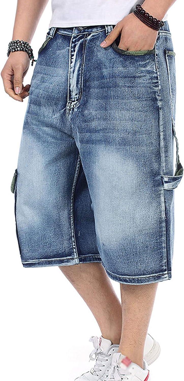 Tanming Men's Casual Loose Hip Hop Work Cargo Pockets Denim Jeans Shorts