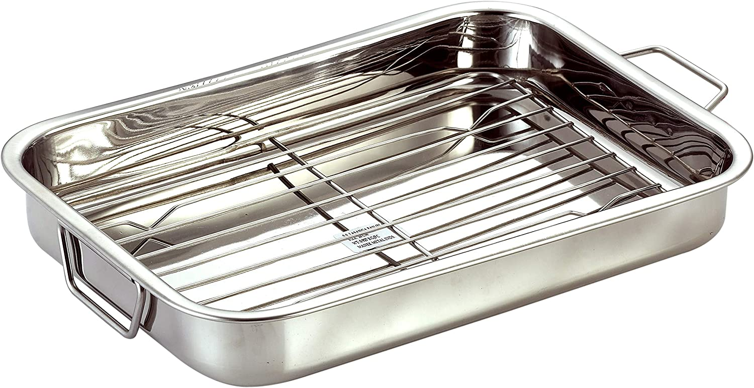 Stainless Steel Roast Pan with Grill Rack & Folding Handles    CHEF DIRECT    Rectangular Lasagna Pan for Baking, Grilling, Roasting    OTG Oven Safe (With Grill Roasting Rack (40cm X 28cm))