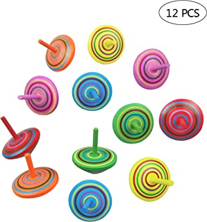 12 PCS Handmade Painted Wood Spinning Tops, Kids Novelty Wooden Colorful Gyroscopes Toy, Assorted Standard Tops, Flip Tops, Kindergarten Education Toys - Great Party Favors, Fun, Gift, Prize